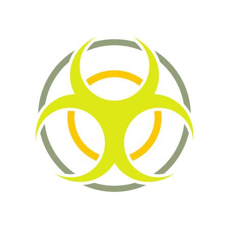 riesgo biologico: se�al de peligro biol�gico icono plano y redondo aislado en el fondo blanco Vectores