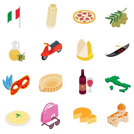 3d icons: Italy isometric 3d icons set isolated on white background Illustration
