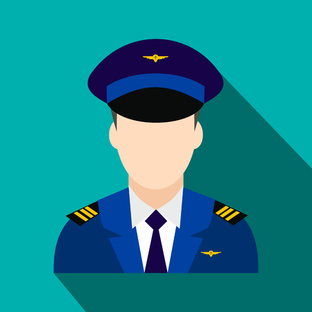 Captain of the aircraft flat icon on a blue background