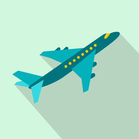 passenger plane: Passenger airplane flat icon on a light blue background Illustration