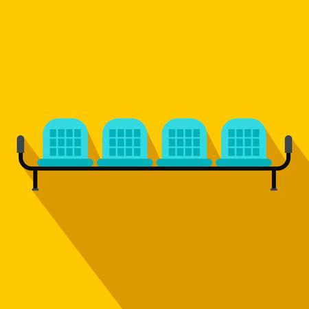 Aeroporto sedili icona di piatto su uno sfondo giallo Vettoriali