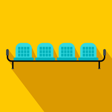 depart: Airport seats flat icon on a yellow background