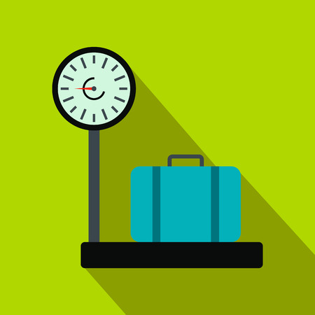 luggage: Weighing luggage flat icon on a green background