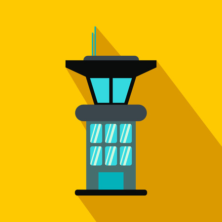 Airport control tower flat icon on a yellow background