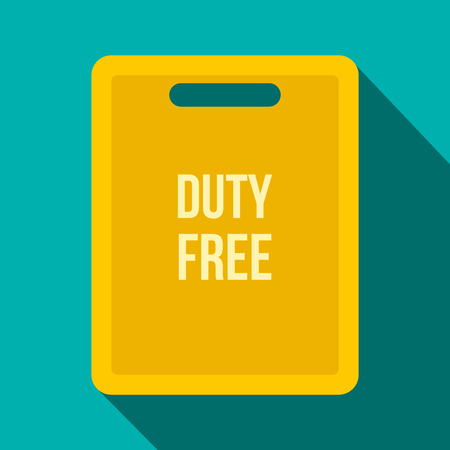 duty: Duty free bag flat icon on a blue background