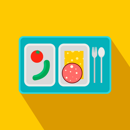 air liner: Airplane lunch flat icon on a yellow background Illustration