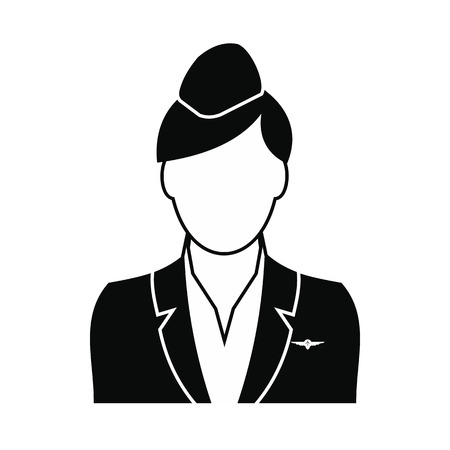 flight crew: Stewardess black simple icon isolated on white background