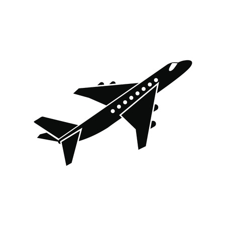 Passenger airplane black simple icon isolated on white background Vettoriali
