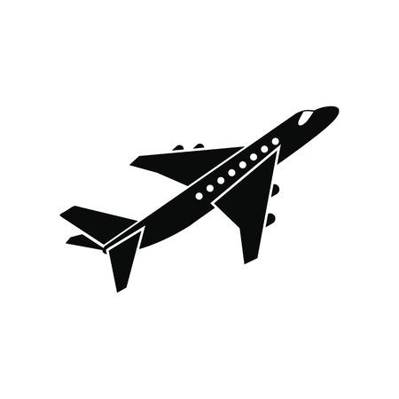piloto de avion: Avi�n de pasajeros simple icono negro aislado en el fondo blanco Vectores