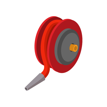 winder: Red fire hose winder roll reels cartoon icon on white background