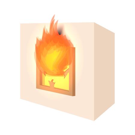 incendio casa: Icono de la casa de dibujos animados fuego sobre fondo blanco