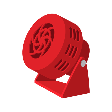 red fan: Red fan cartoon icon on a white background