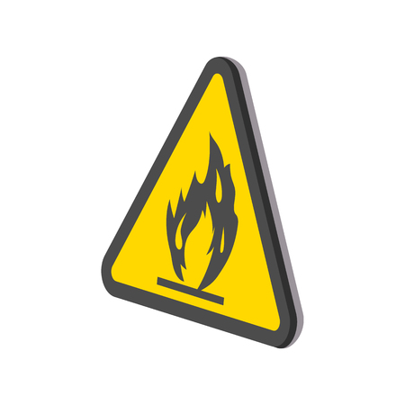 burnable: Fire warning sign cartoon icon on a white background