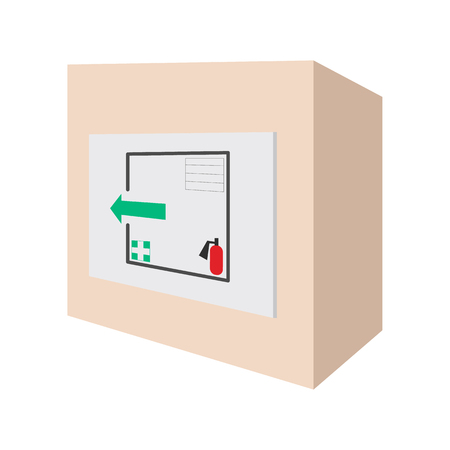 escape plan: Evacuation plans and fire extinguishe cartoon icon on a white background