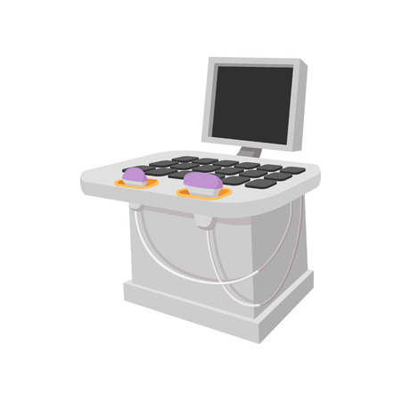 Medical ultrasound diagnostic machine cartoon icon on a white background