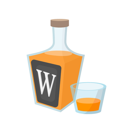 scotch whisky: Bottle of whiskey cartoon icon on a white background