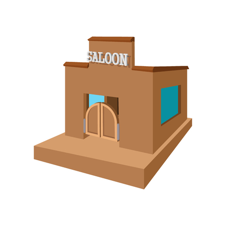 saloon: Western saloon cartoon icon on a white background