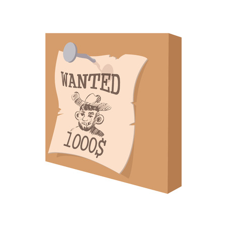 lawman: Vintage western wanted poster cartoon icon on a white background Illustration
