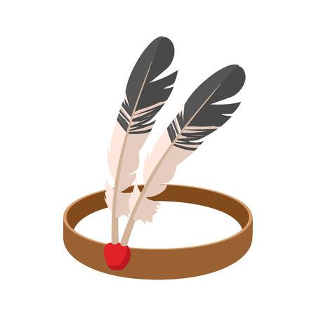 indian headdress: American Indian headdress cartoon icon on a white background