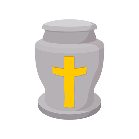 urn: Urn for ashes cartoon icon on a white background
