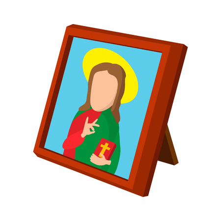 iconography: Church icon depicting St cartoon icon on a white background