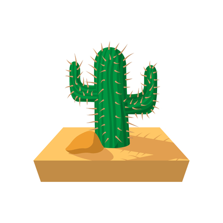 american vintage: Cactus cartoon icon on a white background