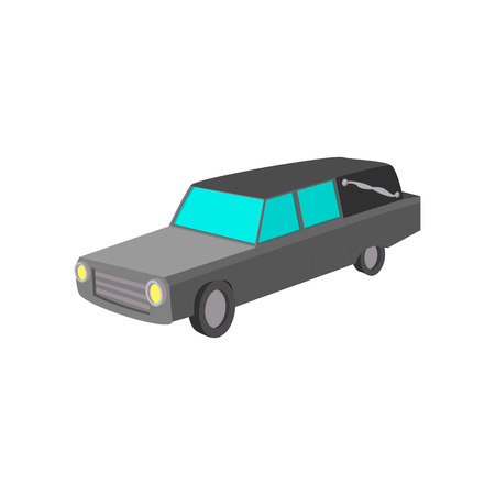 lugubrious: Hearse cartoon icon on a white background