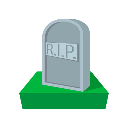 stone tombstone: Tombstone with RIP cartoon icon on a white background