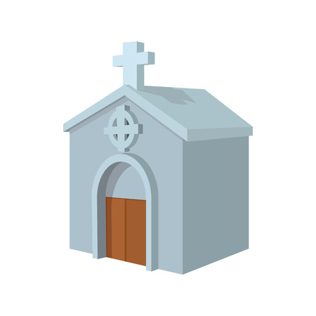 crypt: Crypt in cemetery cartoon icon on a white background