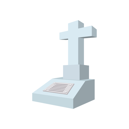 stone tombstone: Cross tombstone cartoon icon on a white background Illustration