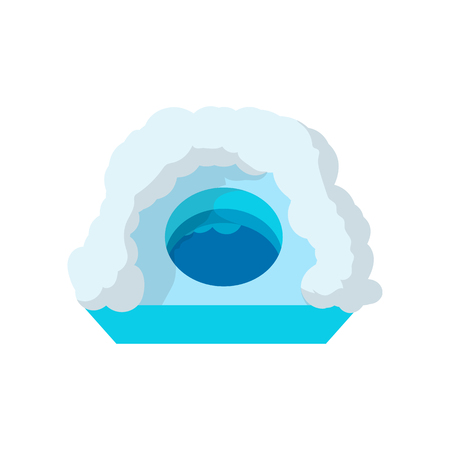 ice fishing: Hole for ice fishing cartoon icon on a white background Illustration