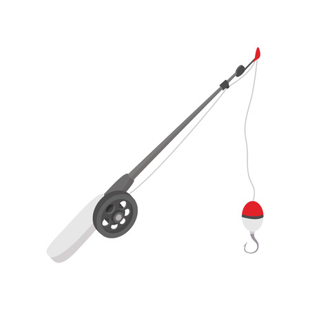 Fishing rod cartoon icon on a white background Vettoriali