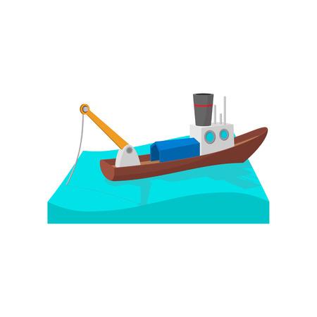 fishery: Fishing boat cartoon icon on a white background Illustration