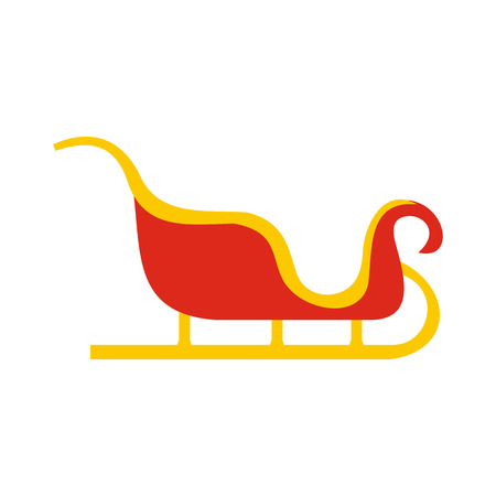 Christmas sleigh flat icon isolated on white background Illustration