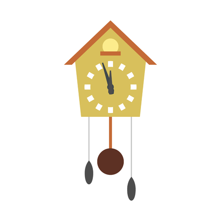 cuckoo clock: Cuckoo clock flat icon isolated on white background