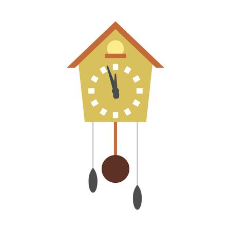 reloj cucu: icono de reloj de cuco plana aislada en el fondo blanco