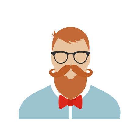 bakelite: Hipster flat character isolated on white background