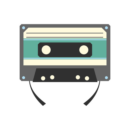 wav: Audio compact cassette flat icon isolated on white background
