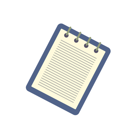 recap: Notebook with a spring icon isolated on white background