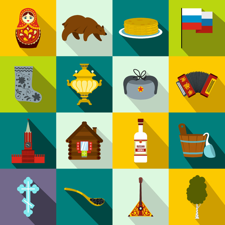 matrioska: Russia flat icons set for web and mobile devices