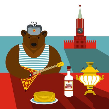estereotipo: Rusia concepto de estereotipo de estilo plano para cualquier dise�o