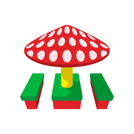 sunshade: Children canopi in the shape of red mushroom cartoon icon. Sunshade with benches Illustration