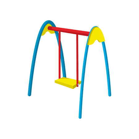 chain swing ride: Swing cartoon icon. Single symbol of a playground isolated on a white background