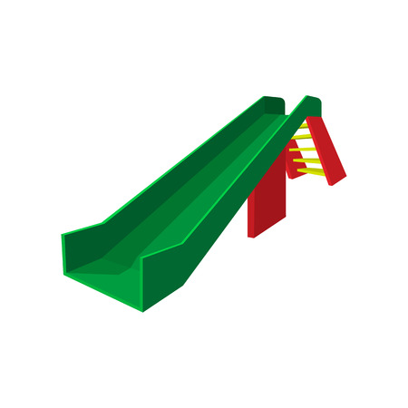 smooth legs: Children green slide at the park on a white background. Cartoon icon Illustration