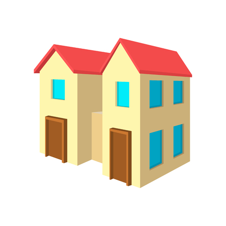 single dwellings: House for two families cartoon icon on a white background
