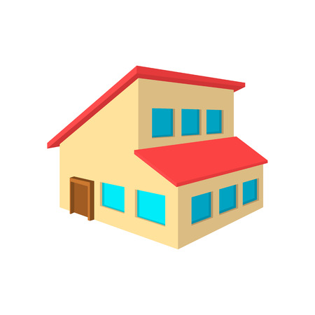 mansard: House with a mansard cartoon icon on a white background