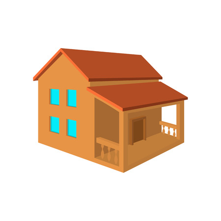 front porch: Two-storey house with porch flat icon on a blue background
