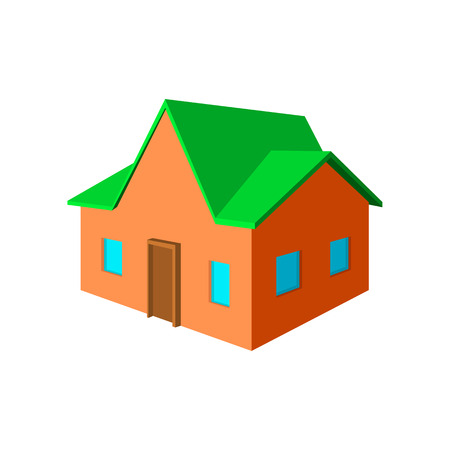 cottage: Cottage cartoon icon on a white background