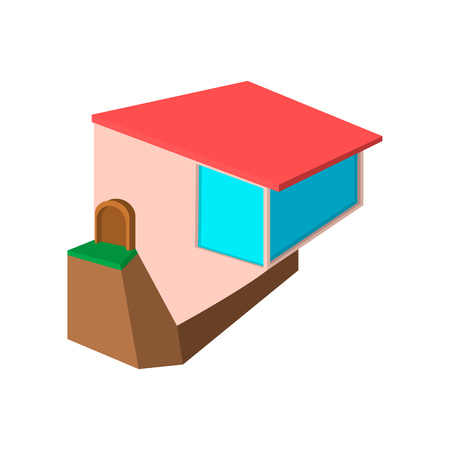 cliff edge: Cottage on the edge of a cliff cartoon icon on a white background