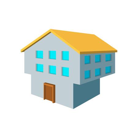 porch: Two-storey house cartoon icon on a white background